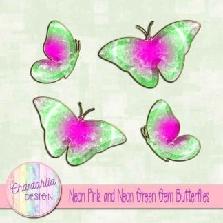 Free butterflies in a neon pink and neon green gem style