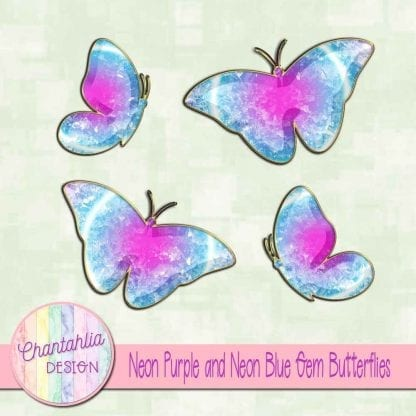 Free butterflies in a neon purple and neon blue gem style
