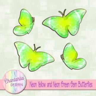 Free butterflies in a neon yellow and green gem style