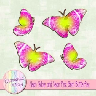 Free butterflies in a neon yellow and neon pink gem style