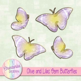 Free butterflies in a olive and lilac gem style