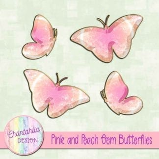 Free butterflies in a pink and peach gem style