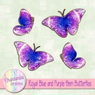 Free butterflies in a blue and purple gem style