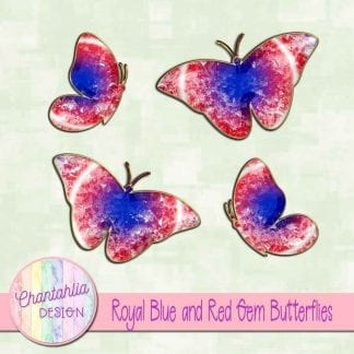 Free butterflies in a blue and red gem style