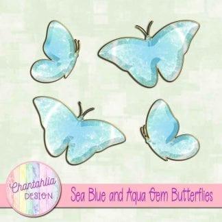 Free butterflies in a blue and aqua gem style