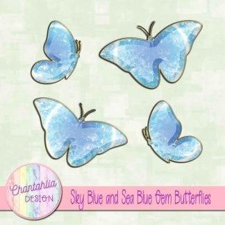 Free butterflies in a blue gem style