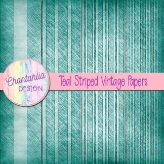 free teal striped vintage papers