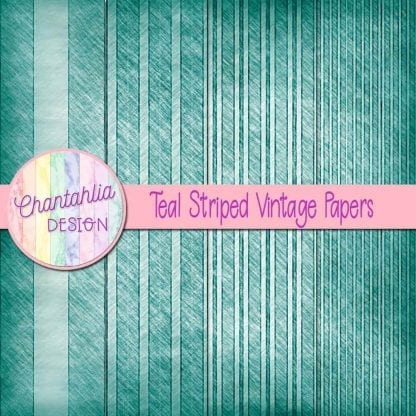free teal striped vintage papers