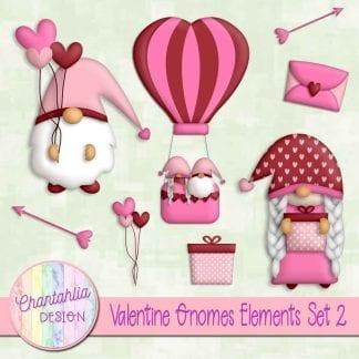 valentine gnomes design elements