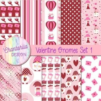 valentine gnomes digital papers
