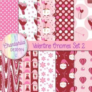valentine gnomes digital papers set 2