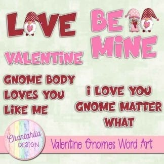 valentine gnomes word art