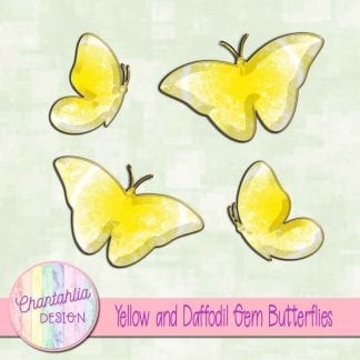 Free butterflies in a yellow gem style