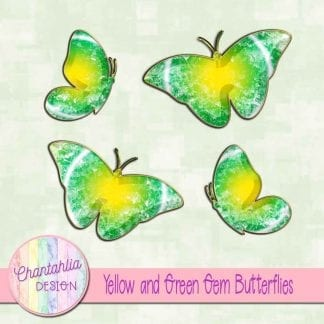 Free butterflies in a yellow and green gem style