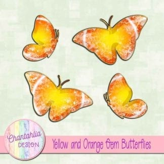 Free butterflies in a yellow and orange gem style