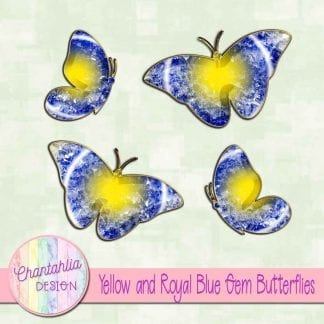 Free butterflies in a yellow and blue gem style