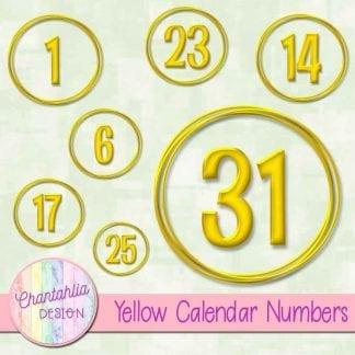 yellow calendar numbers design elements