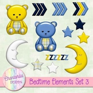 Free design elements / clipart in a Bedtime theme.