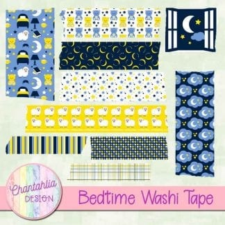 Free digital washi tape in a Bedtime theme