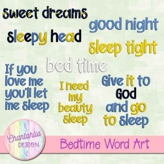 Free word art in a Bedtime theme.