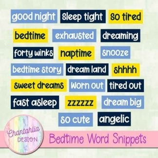 Free digital word snippets in a Bedtime theme
