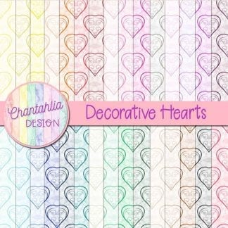 decorative hearts digital papers