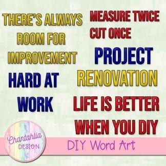 free word art in a DIY theme