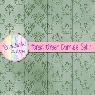 forest green damask digital papers