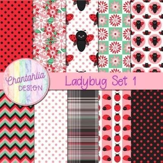 digital papers with ladybug designs