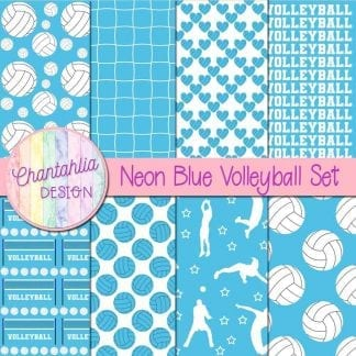 free blue volleyball digital papers