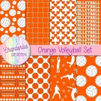 free orange volleyball digital papers