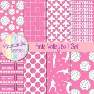 free pink volleyball digital papers