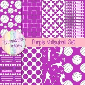 Free purple volleyball digital papers