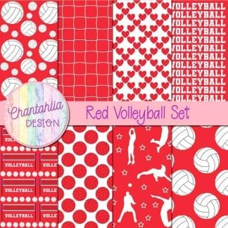 Free volleyball digital papers in red