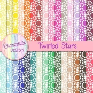 digital papers with twirled stars patterns