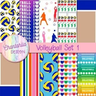 free digital papers in a volleyball theme