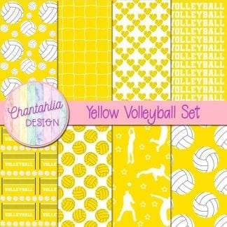 free volleyball digital papers in yellow