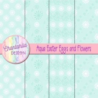 free aqua digital papers featuring flowers in Easter eggs