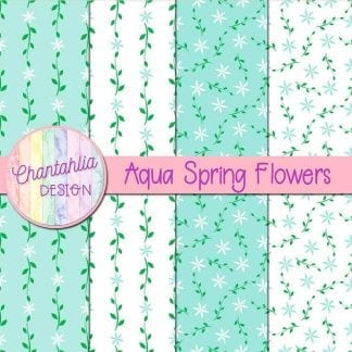 Free digital paper with aqua spring flower designs