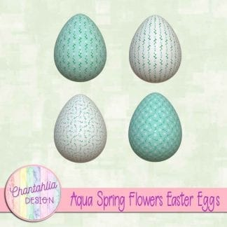 Free Easter egg design elements featuring aqua spring flowers