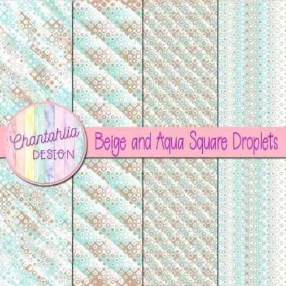 Free beige and aqua square droplets digital papers