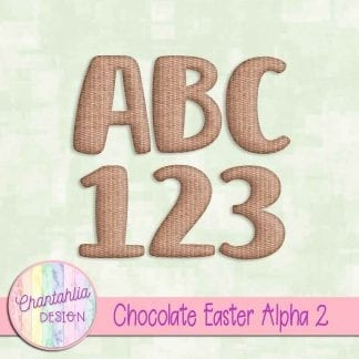 Free alpha in a Chocolate Easter theme on Chantahlia Design.