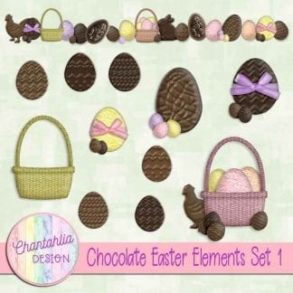 Free design elements in a Chocolate Easter theme