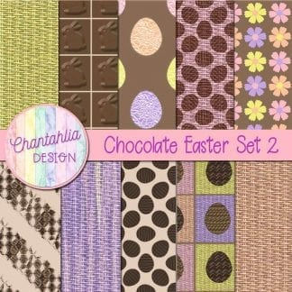 Free digital papers in a Chocolate Easter theme