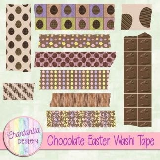 Free digital washi tape in a Chocolate Easter theme