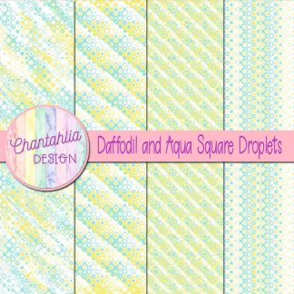 Free daffodil and aqua square droplets digital papers