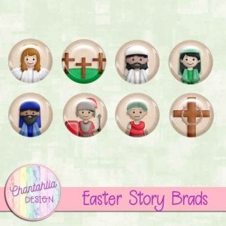 Free digital brads in an Easter Story theme