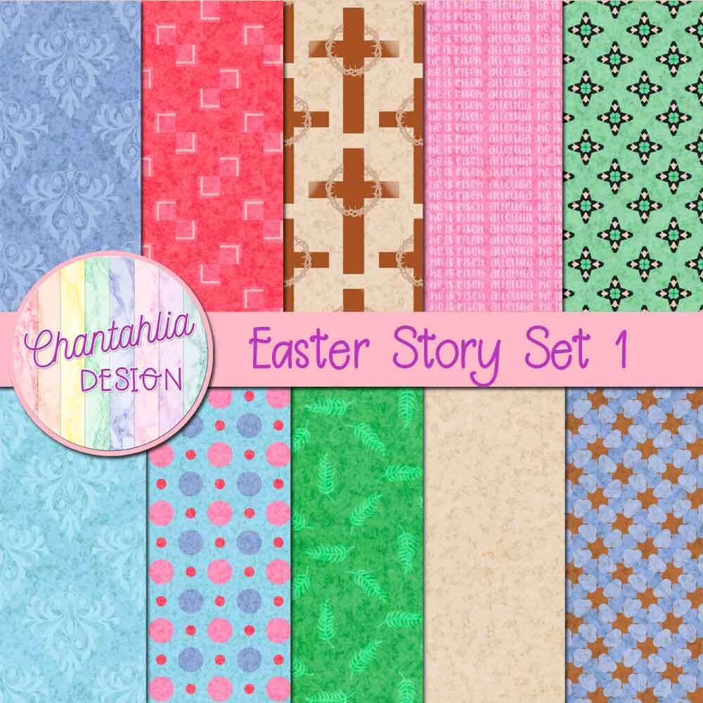 Free digital papers in an Easter Story theme