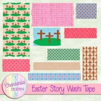 Free washi tape in an Easter Story theme.