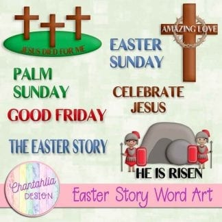 Free word art in an Easter Story theme.